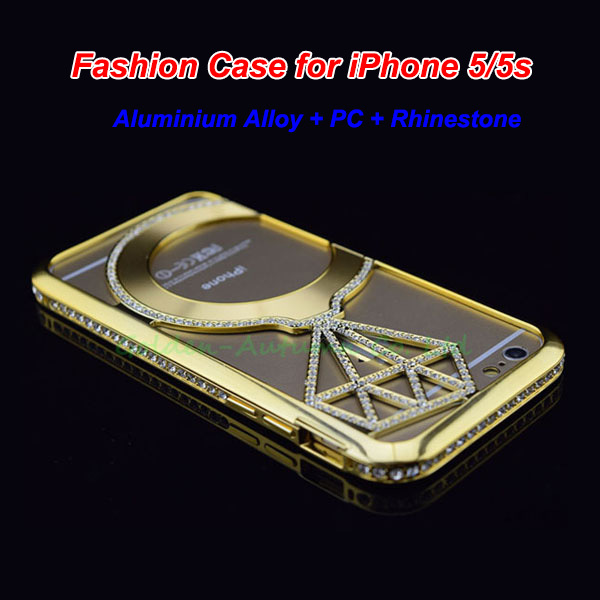 100Pcs/Lot DHL Shipping, High Quality Fashion Design Luxury Diamonds With Metal Bumper Cover Case Protector For iPhone 5 5s.(China (Mainland))