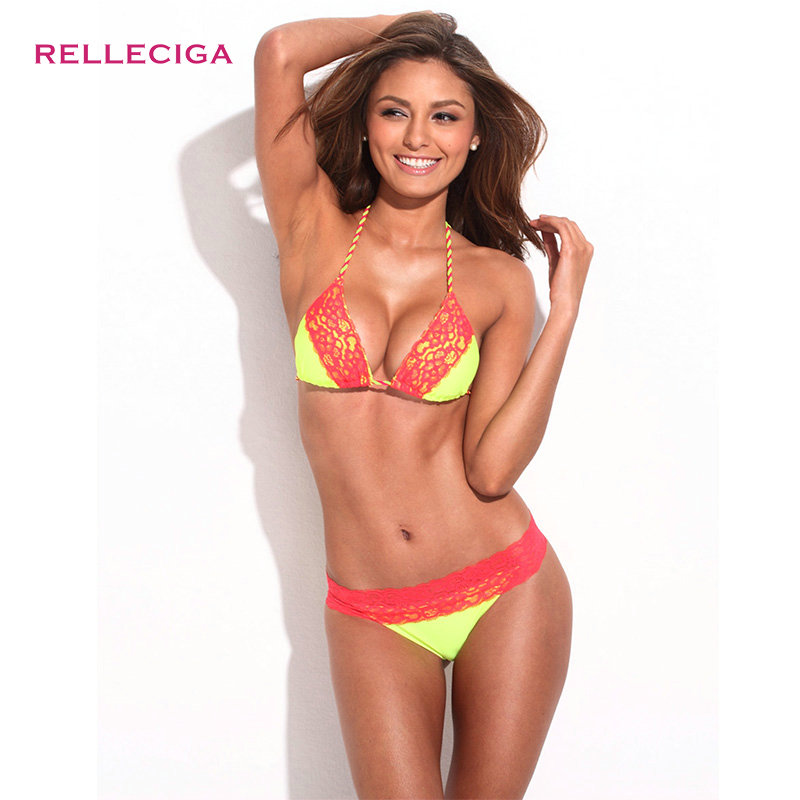 RELLECIGA Swimwear Solid Color Lace Swimsuit Bikini Set Braided Ties Light Removable Padding Bathing Suit Women - store