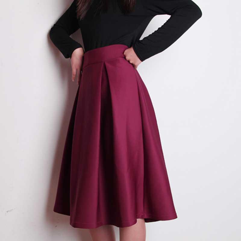 plus size autumn winter flared skirt pleated midi skirt