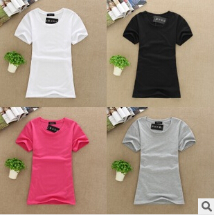 Free dhl wholesale high quality 100 cotton women o neck t Bulk quality t shirts