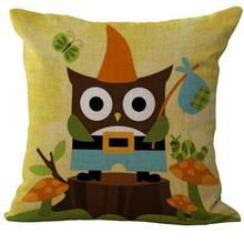 Owl Elephant Pattern Linen Throw Pillow Case