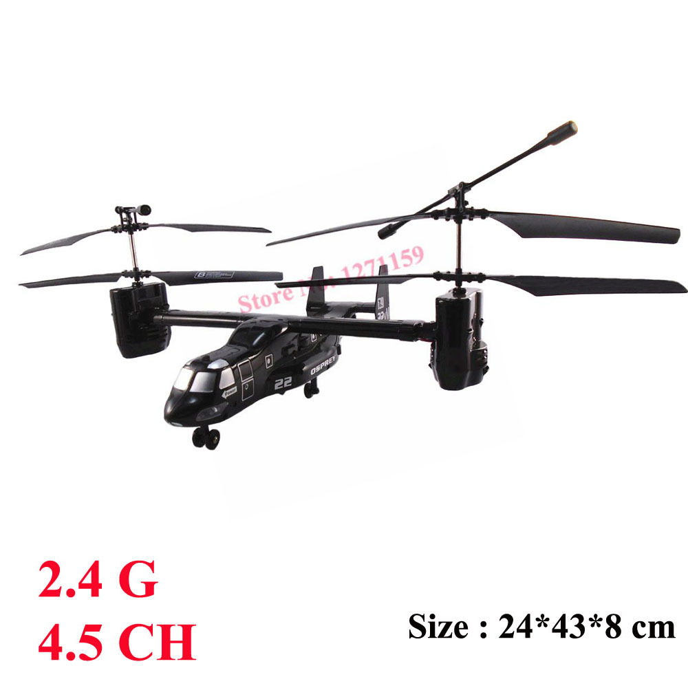 2.4G remote control aircraft 4.5CH Osprey aircraft with LED lights Remote control toy best birthday gift free shipping(China (Mainland))