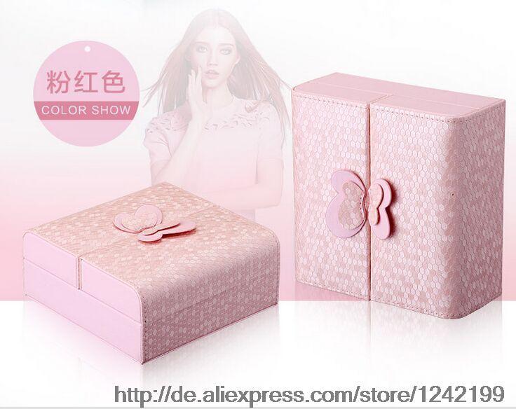 New cosmetics cases Protable 2015 high-grade Cortex jewelry box storage box creativity folded jewelry box(China (Mainland))