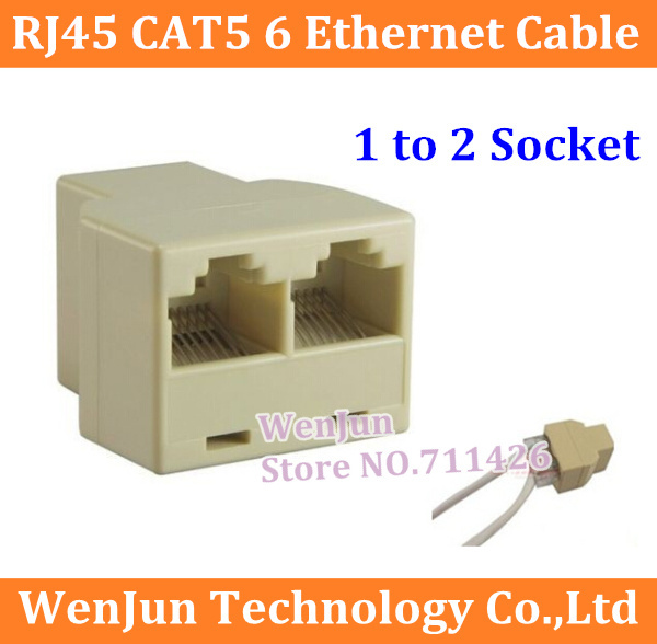 Drop Shipping RJ45 CAT5 6 Ethernet cable LAN Port 1 to 2 Socket Splitter Connector Adapter PC Free Shipping 500PCS/LOT(China (Mainland))