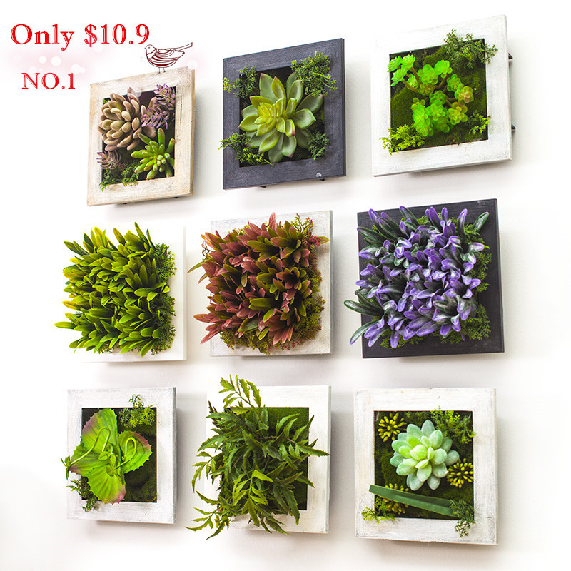 2016 3d Creative Metope Succulent Plants Imitation Wood Photo Frame Wall Decoration Artificial