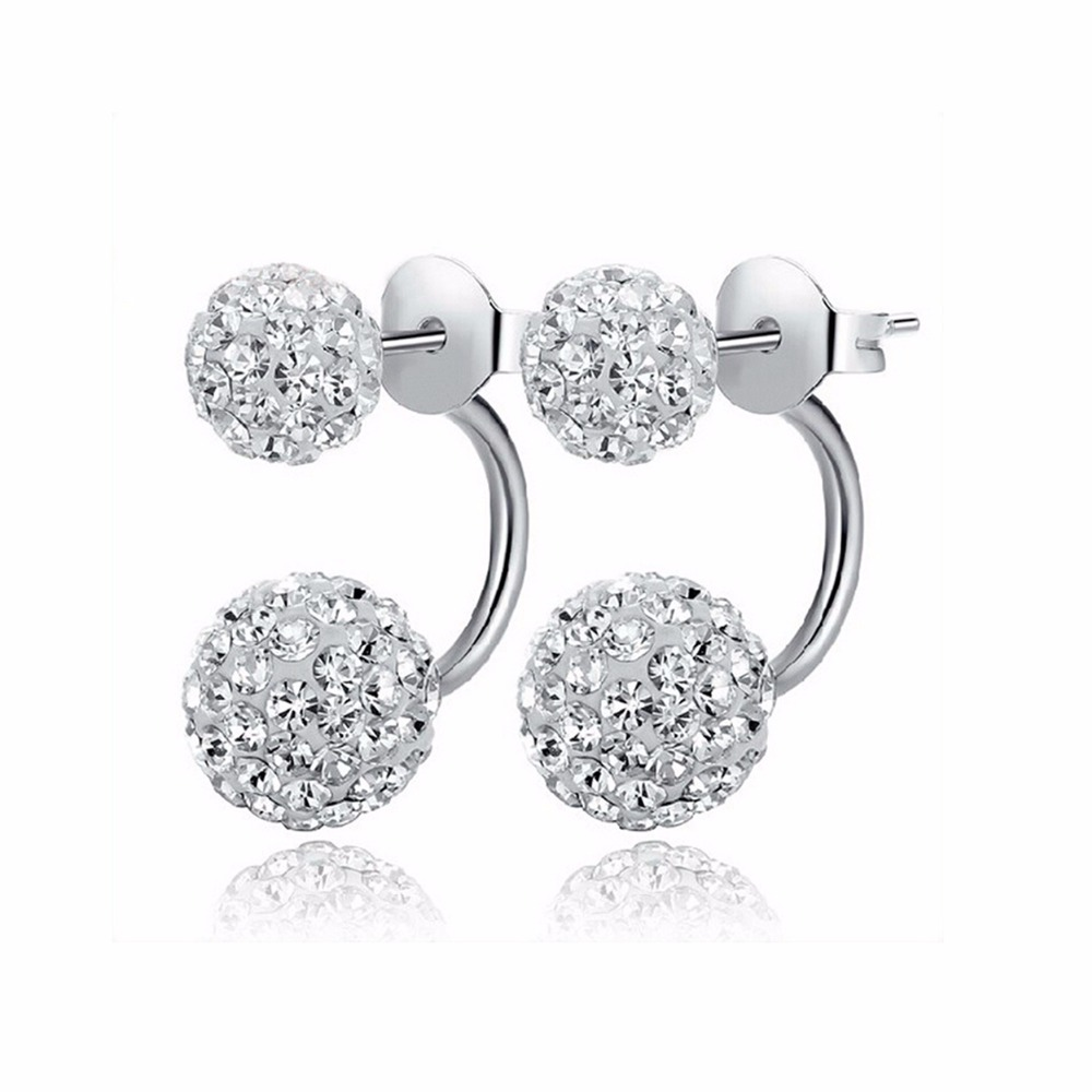 New Double Side Earrings,Fashion Crystal Disco Ball Shamballa Stud Earrings For Women,Bottom Is Stainless Steel,christmas gifts(China (Mainland))