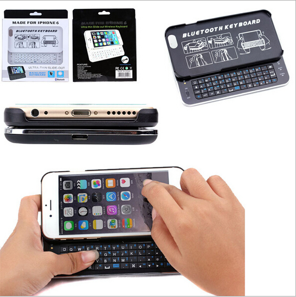 Slide Out Back light Wireless Bluetooth Keyboard Phone Case for iPhone6 4.7 inch External Keyboard(China (Mainland))