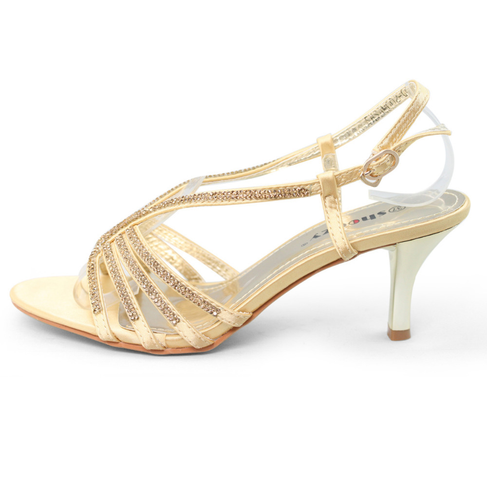 Gold Low Heel Shoes | Tsaa Heel