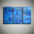 Modern painting canvas abstract 3 piece canvas wall art Knife blue oil painting on canvas for