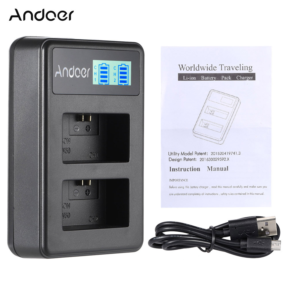 Andoer NP-FW50 Rechargeable LED Display Li-ion Battery Charger 2-Slot with USB Cable for SONY Alpha A7 A7R A7S A5000 A6000 ect(China (Mainland))