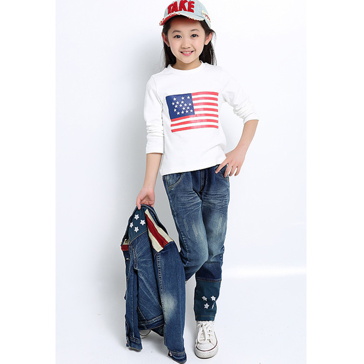 3~11Age kids clothes sets Unisex childrens denim coat+t shirt+jeans 3 pcs clothing set for girls boys suit vetement enfant HB212(China (Mainland))