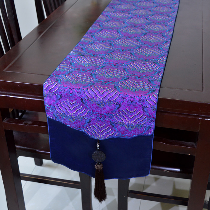 Jade Patchwork Wave Table Runners Luxury Chinese style Silk Brocade High End Table Cloth for Wedding Festive Party Decoration(China (Mainland))