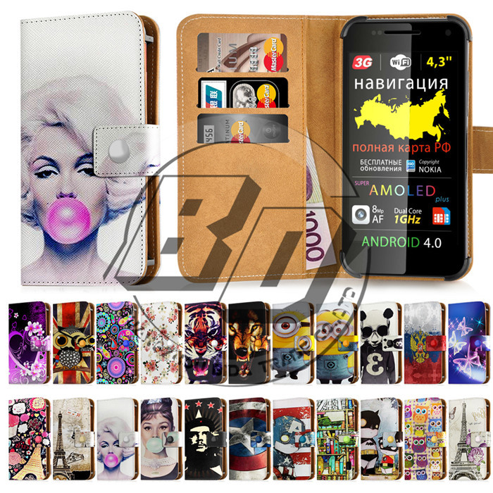 For Explay Infinity Phone Case Universal 4.3 Inch Wallet PU Leather Floral Printed Case Cover For Explay Infinity With Card Slot(China (Mainland))
