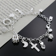 valentine's day gifts 2016 new hot silver crystal bracelet heart-shaped moon stars chain for woman high quality jewelry(China (Mainland))