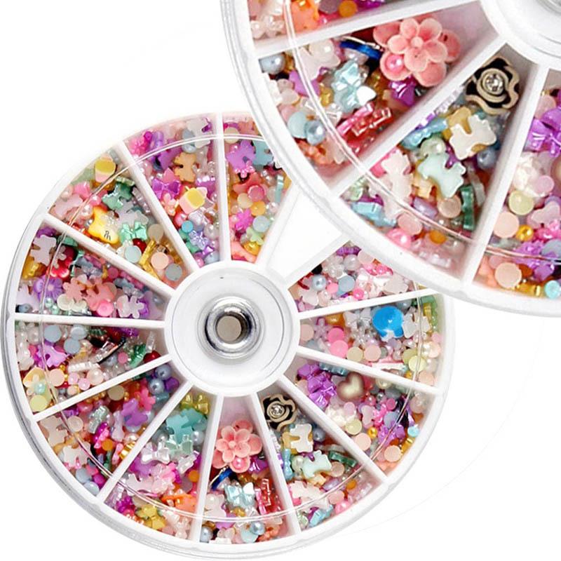 1200PCS Wheel Mixed Nail Art Tips Glitters Rhinestones Slice Decoration Decal Sticker Manicure(China (Mainland))