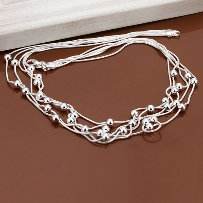 Necklace Silver Plated Necklace Silver fashion jewelry necklace five lines jewelry wholesale free shipping kkad LN213(China (Mainland))