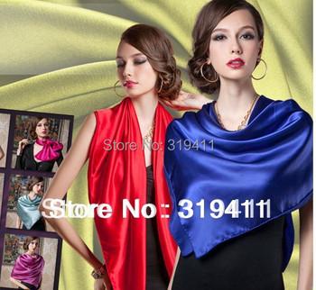 2017 новая весна сплошной цвет Шелковая Косынка Женщины Моды Марка Высокое Качество подражать Шелковый Атлас Шали Шарфов Хиджаб SC0272