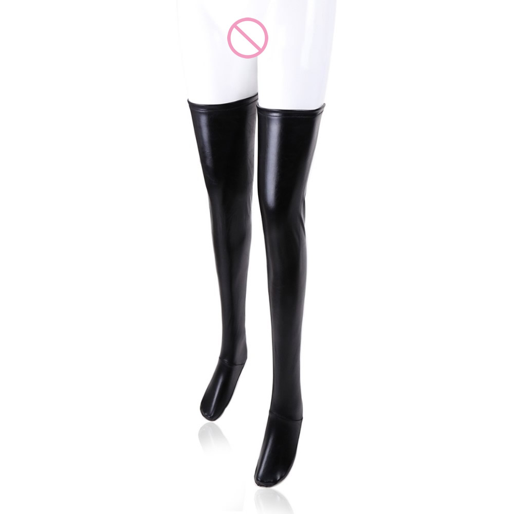 Female sex paint coating sexy elastic stockings black leather socks with antiskid article silicone zipper socks sextoys forwomen