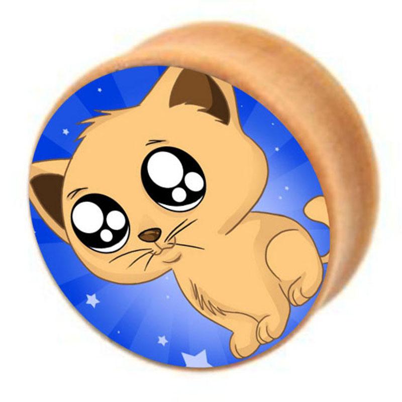 Cat Sam Logo Wood Plugs Earlets Gauges Mix 6-16mm Organic Body Jewelry Ear Plugs Tunnels Piercing(China (Mainland))