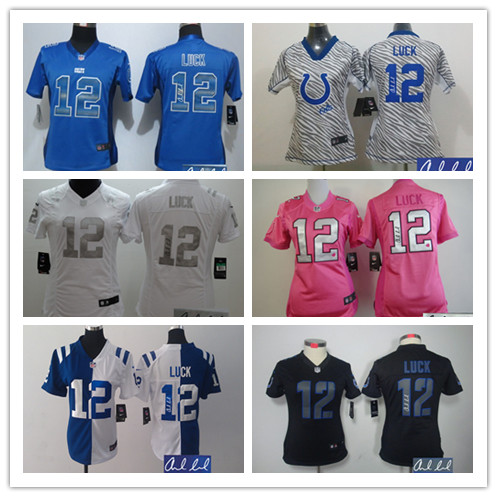 Signature Women Lady Indianapolis Colts ,#12 Andrew Luck,T.Y. Hilton,Andre Johnson,Pat McAfee,Coby Fleener,Frank Gore(China (Mainland))