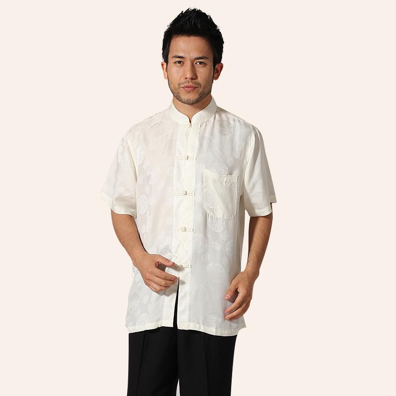 New White Chinese Mens 100% Silk Kung Fu Shirt Mandarin Collar Short Sleeve Martial Arts Clothing Size M L XL XXL XXXL MNS30Одежда и ак�е��уары<br><br><br>Aliexpress