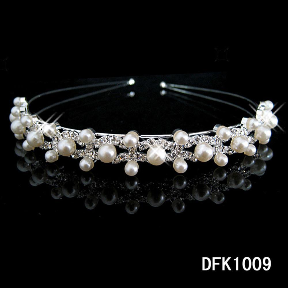 pearl crystal wedding princess tiara headband rhinestone pageant crowns for bride hair(China (Mainland))