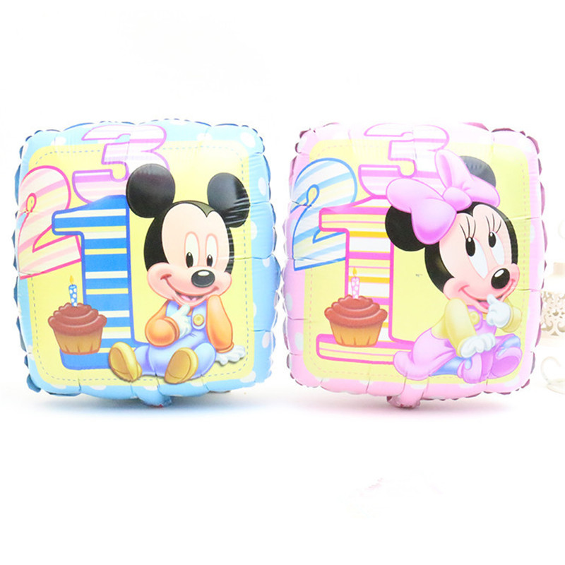 Lucky 10pcs/lot 45*45cm Square Mickey/Minnie Foil Balloons Cartoon Mouse Birthday Party Decoration Mylar Balloon Inflatable Toys(China (Mainland))