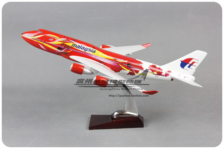 39cm Resin Air Malaysia Big Red Flower Hibiscus Airlines Plane Model Boeing 747 B747 400 Airways Aircraft Airplane Model W Stand(China (Mainland))