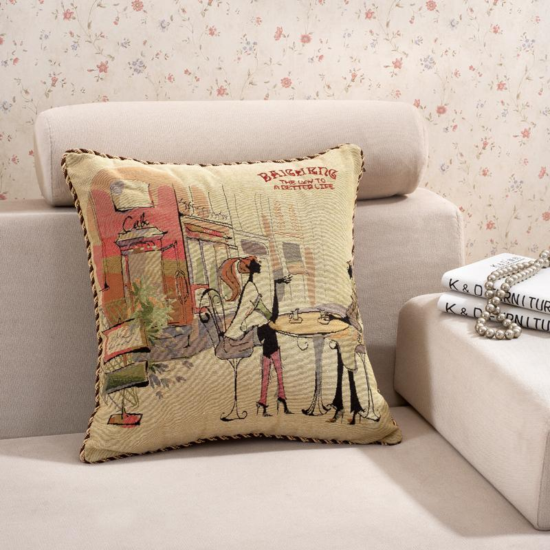 hot sale free shipping one seat cotton fabric square cushion jacquard pillow for home 50*50cm,SPC002(China (Mainland))