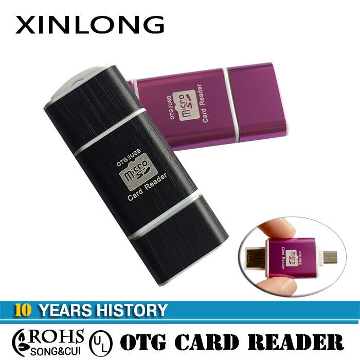 2015 Aluminum Micro Usb OTG Card Reader For SAMSUNG GALAXY2 3/USB OTG Smart Card reader,TF Memory Card Read,micro sd usb adaptor()