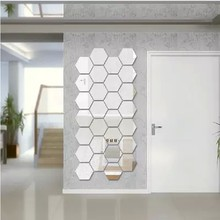 3D Acrylic Regular Hexagonal Mirror Surface Home Decals Wall Sticker Living Room Self-adhesion 3pcs/lot Free Shipping(China (Mainland))