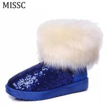 MISSC Alta Calidad Falsa Piel De Zorro Mujeres Botas de Nieve Del Tobillo Del Brillo de la Moda Invierno Cálido Algodón Zapatos Mocasín Tamaño 40 WBS300(China (Mainland))