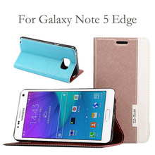 New Pearl Pearlescent Cross Pattern Leather Filp Case For Samsung Galaxy Note 5 Edge Card Slots Wallet Stand Holder Cover(China (Mainland))