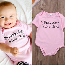 Lovely Newborn baby girl clothes rosherun baby bodysuits baby body Infant Casual Dady love Jumpsuit Bodysuit body baby(China (Mainland))