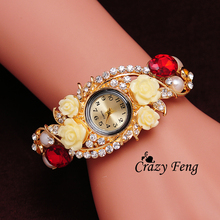 Free Shipping Gift For Women Dress Quartz Watch 3 Colors Wristwatch Women Bangle Bracelet 18K Gold Plated Crystal GENEVA Watches