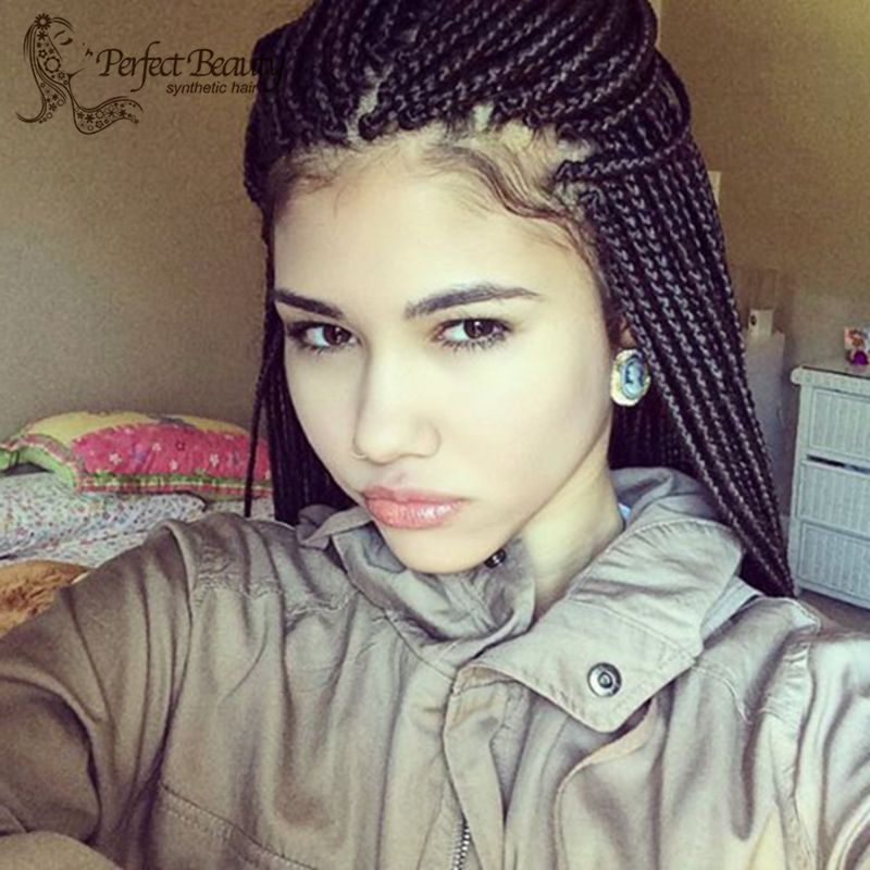 Фотография Black Women Wig With Baby Hair Synthetic Box Braids Wig Heat Resistant Braided Lace Front Wigs 18