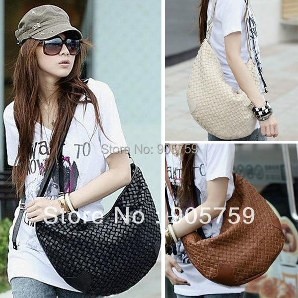 stylish messenger bag Fashion Korea Style Women PU Leather knitted Casual Single Shoulder Cross body - Fashion's _Store store