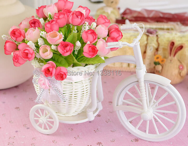 Hot Sale plastic rattan wicker trycycle vase include artificial rose flowers for wedding home decoration flower set(China (Mainland))