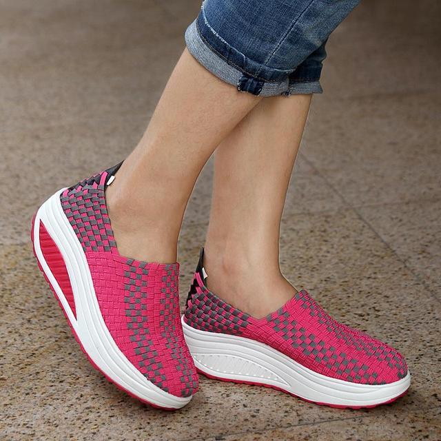 2016 Весна Осень женские насосы обувь для похудения один формирования трикотажные ...