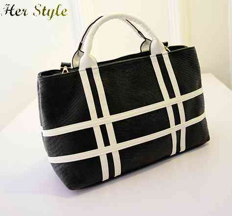 Free Shipping new Europe 2015 spring fashion line double opening zippers handbag black and white mobile womens shoulder bag 1432(China (Mainland))