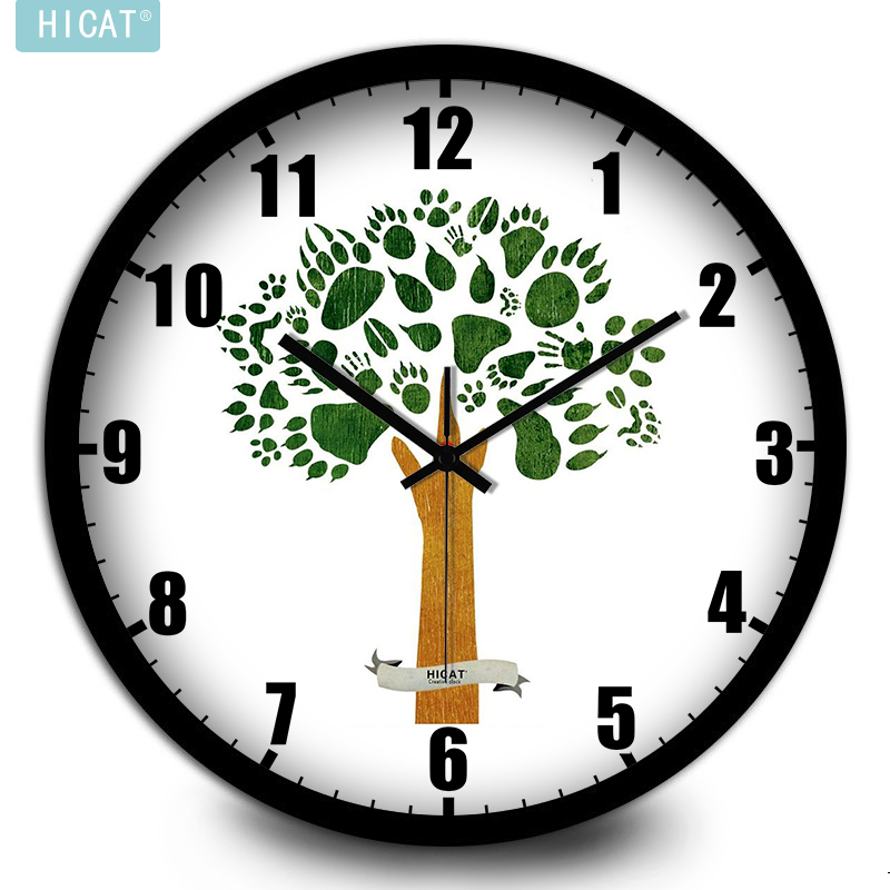 HICAT crazy cat simple fresh trees kitchen wall clock bedroom living room mute electronic quartz watch(China (Mainland))