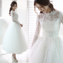factory wholesale 2015 new! Sexy long-sleeved perspective a word shoulder princess grace Short wedding dresses TS313-198(China (Mainland))
