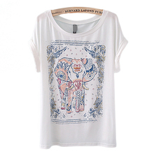 New Womens European Animal Fashion Elephant Vintage Short Sleeve Crewneck T-Shirt Tops Shirt Retail/Wholesale 5AXW