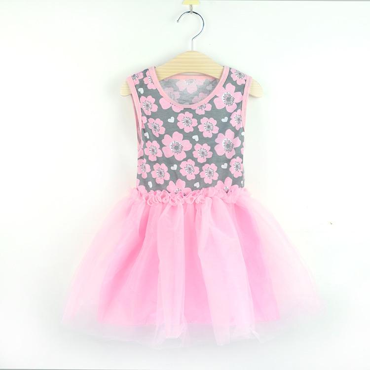 Fashion baby girls dress pink pirnt chiffon petti dress princess kids girl summer wear 3-8 Ys(China (Mainland))