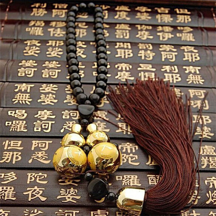 Best seller Fashion Car Ornaments Gold Plated Double Gourd Lucky Entry Double Gourd Lucky Car Pendant Car hanging accessories(China (Mainland))
