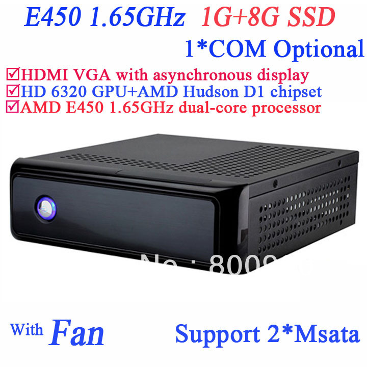 mini pcs with AMD E450 1.65GHz 1G RAM 8G SSD AMD Hudson D1 chipset AMD Radeon HD6310/HD6320 graphic windows or linux installed