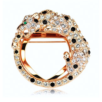 Fashion Freedom Style Leopard Shaped Brooches Or Scarves Buckles Women Collar Decoration Accessories Crystals Paved FJ0192(China (Mainland))