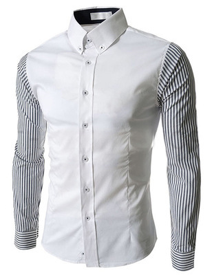 2015 New Arrival Summer Style Men Shirt Fashion Patchwork Striped Long Sleeve Slim Fit Shirt For