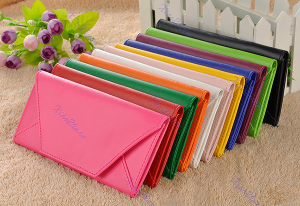 New womens Envelope Purse Wallet Clutch PU Leather Pocket Lady Hand Bag 9 Colors/Free Shipping(China (Mainland))