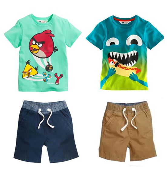 2016 New kid apparel Boys Summer Clothing Set Baby Boys Set Suit Cotton T-shirt+ Short Kids costumes Free Shipping(China (Mainland))